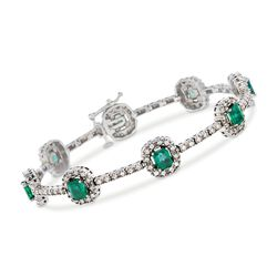 "3.20 ct. t.w. Emerald and 1.10 ct. t.w. Diamond Station Bracelet in 14kt White Gold. 7"", , default"