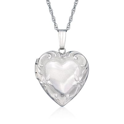 14kt White Gold Floral Motif Heart Locket Necklace, , default