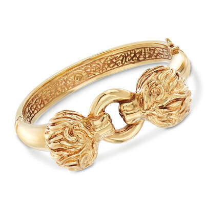 Italian 14kt Yellow Gold Double Lion Head Bangle Bracelet, , default