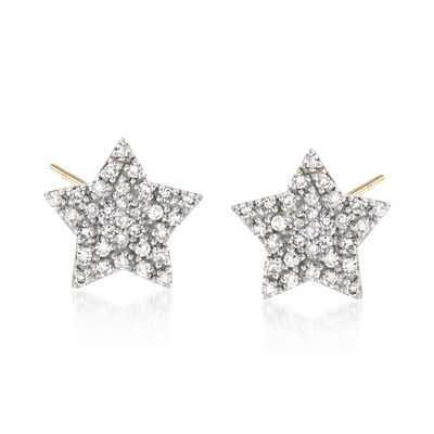 .15 ct. t.w. Diamond Star Stud Earrings in 14kt White Gold, , default