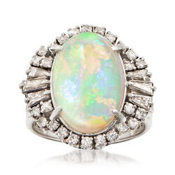 C. 1960 Vintage Opal Cabochon and .85 ct. t.w. Diamond Halo Ring in Platinum, , default