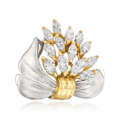 C. 1990 Vintage .95 ct. t.w. Diamond Bow Cluster Ring in Platinum and 18kt Yellow Gold, , default