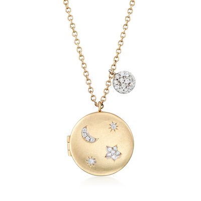 .18 ct. t.w. Pave Diamond Star and Moon Locket in 14kt Yellow Gold, , default