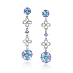 2.30 ct. t.w. Tanzanite and .30 ct. t.w. Emerald With Diamonds Drop Earrings in Sterling Silver, , default