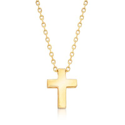 18kt Yellow Gold Small Cross Pendant Necklace, , default