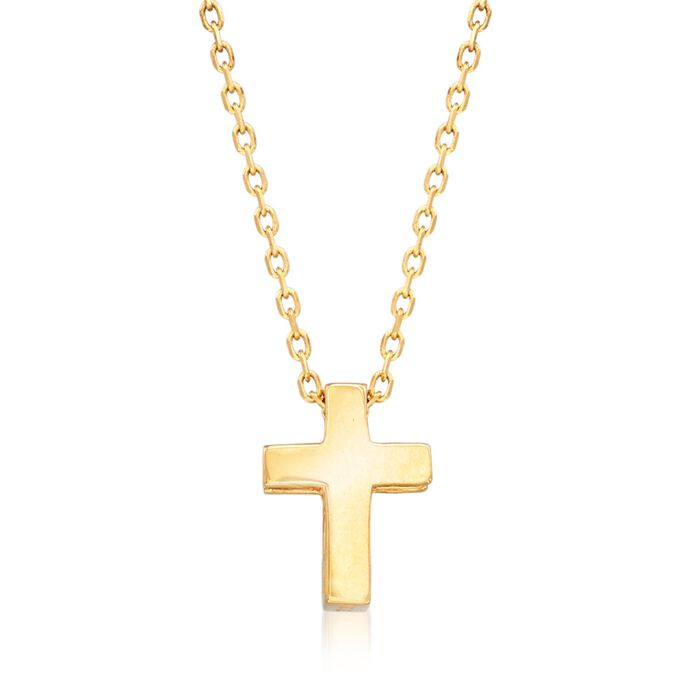 "18kt Yellow Gold Small Cross Pendant Necklace. 18"", , default"