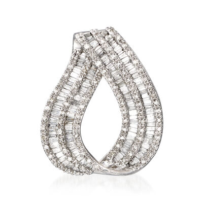 .93 ct. t.w. Round and Baguette Diamond Loop Slide Pendant in 14kt White Gold, , default
