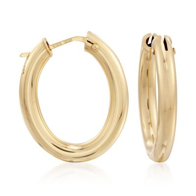 Roberto Coin 18kt Yellow Gold Oval Hoop Earrings , , default