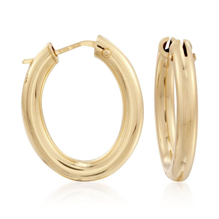 Roberto Coin 18kt Yellow Gold Oval Hoop Earrings. 1""