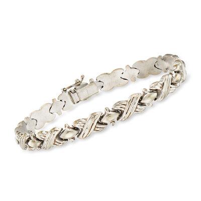 C. 1990 Vintage 14kt White Gold X-Link Bracelet, , default
