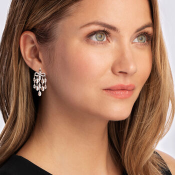 C. 2000 Vintage Mimi Milano 10.40 ct. t.w. White Topaz and .30 ct. t.w. Diamond Chandelier Earrings in 18kt White Gold, , default