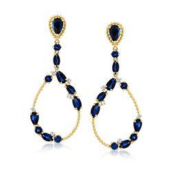 3.80 ct. t.w. Sapphire and .11 ct. t.w. Diamond Teardrop Earrings in 14kt Yellow Gold, , default
