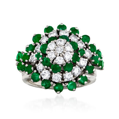 C. 1980 Vintage 1.80 ct. t.w. Emerald and 1.20 ct. t.w. Diamond Flower Cluster Ring in 14kt White Gold