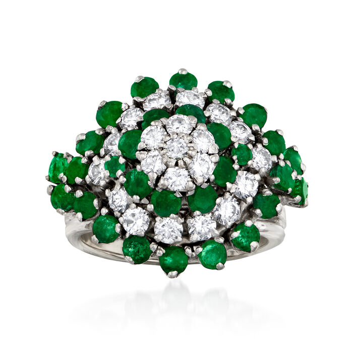 C. 1980 Vintage 1.80 ct. t.w. Emerald and 1.20 ct. t.w. Diamond Flower Cluster Ring in 14kt White Gold. Size 5.25