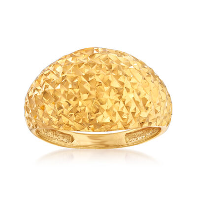 22kt Yellow Gold Diamond-Cut and Polished Dome Ring, , default