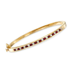 "C. 1980 Vintage 1.00 ct. t.w. Ruby and .75 ct. t.w. Diamond Bangle Bracelet in 14kt Yellow Gold. 7.5"", , default"