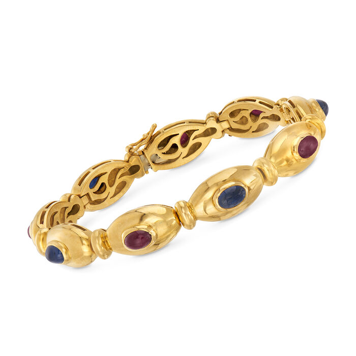 """C. 1980 Vintage 2.25 ct. t.w.  Ruby and 1.80 ct. t.w. Sapphire Cabochon Bracelet in 18kt Yellow Gold. 6.5"""", , default"""