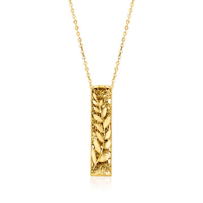 Italian 14kt Yellow Gold Vine Bar Necklace