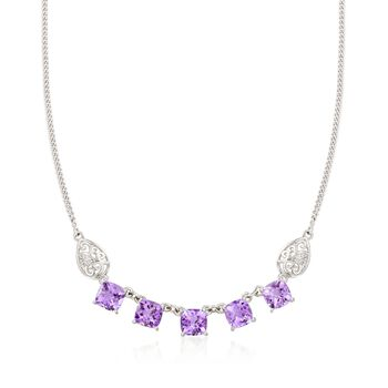 """9.25 ct. t.w. Amethyst Necklace With Scrolled Sides in Sterling Silver. 18"""", , default"""