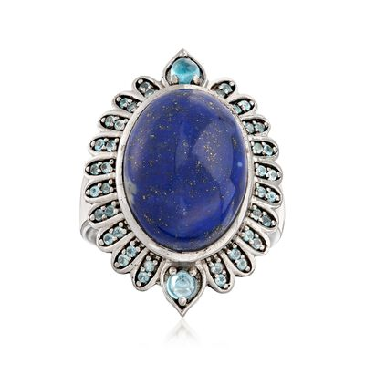 Lapis and .40 ct. t.w. Swiss Blue Topaz Ring in Sterling Silver