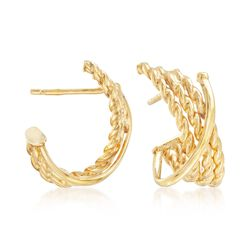"Italian 14kt Yellow Gold Twisted Crisscross Hoop Earrings. 1/2"", , default"