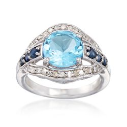 3.70 Carat Blue Topaz and .31 ct. t.w. Diamond Ring With .30 ct. t.w. Sapphires in Sterling, , default