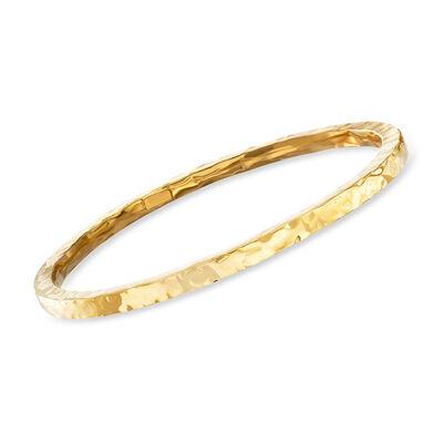 Italian 24kt Gold Over Sterling Silver Hammered Bangle Bracelet, , default