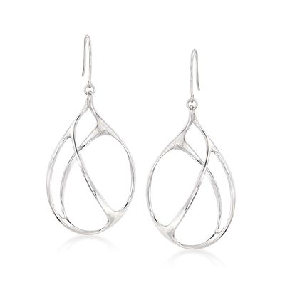 Italian Sterling Silver Open-Space Drop Earrings, , default