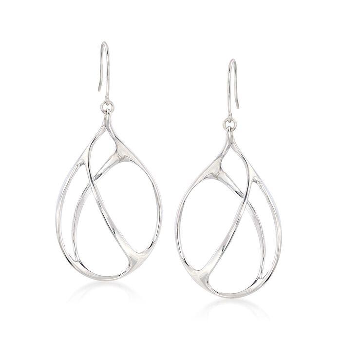 Italian Sterling Silver Open-Space Drop Earrings , , default