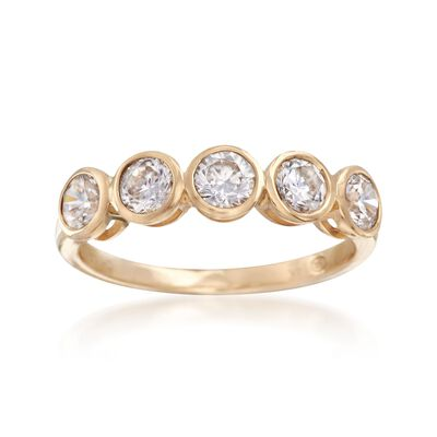 1.00 ct. t.w. Bezel-Set CZ Ring in 14kt Yellow Gold, , default