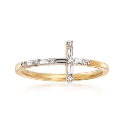 .16 ct. t.w. Diamond Cross Ring in 14kt Yellow Gold, , default