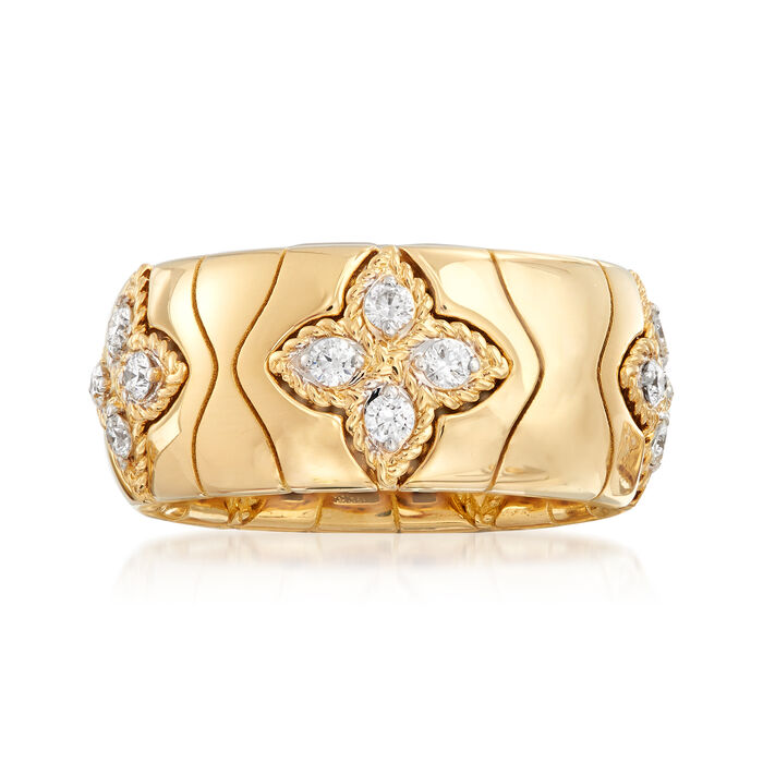 "Roberto Coin ""Princess Flower"" .52 ct. t.w. Diamond Ring in 18kt Yellow Gold. Size 6.5"
