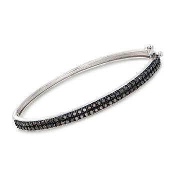 """2.00 ct. t.w. Black Diamond Bangle Bracelet in 14kt White Gold. 7"""", , default"""