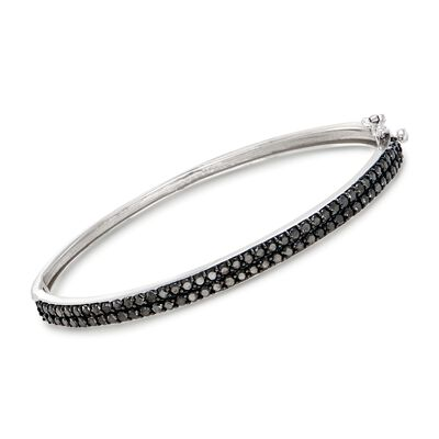 2.00 ct. t.w. Black Diamond Bangle Bracelet in 14kt White Gold, , default