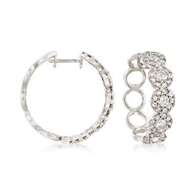 2.00 ct. t.w. Diamond Cluster Hoop Earrings in 14kt White Gold, , default