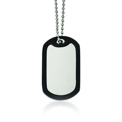 "Men's Stainless Steel and Black Rubber Dog Tag Pendant Necklace. 24"", , default"