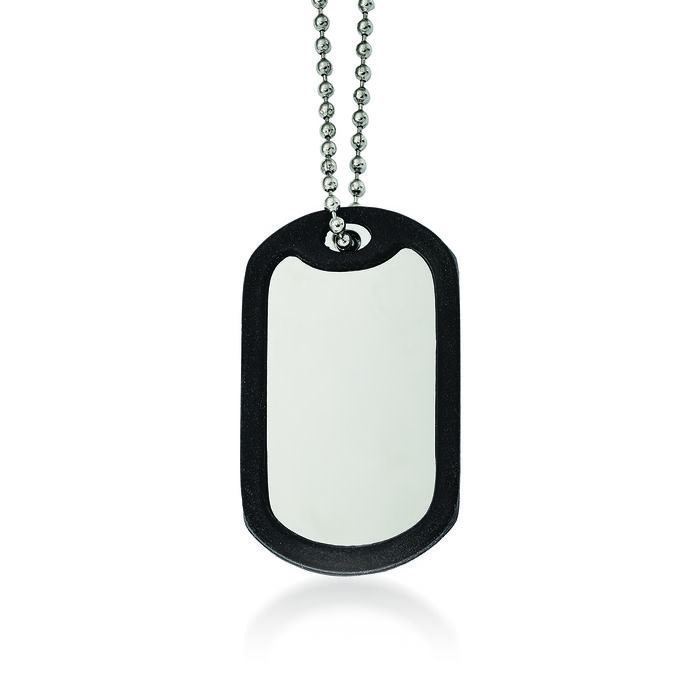 """Men's Stainless Steel and Black Rubber Dog Tag Pendant Necklace. 24"""", , default"""