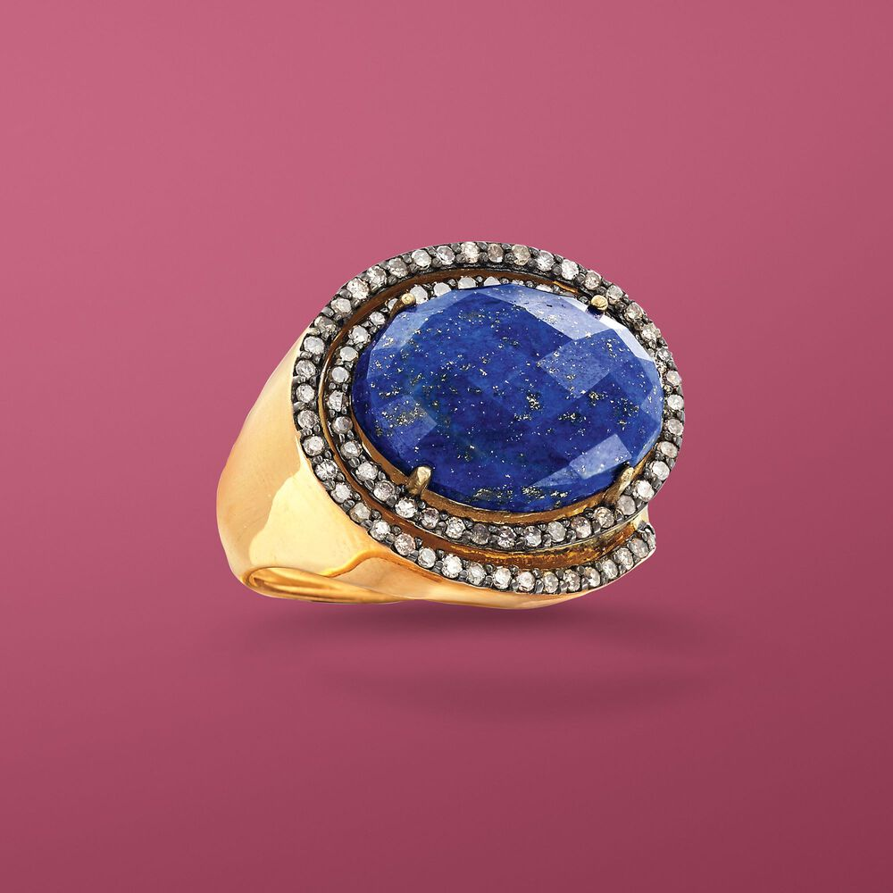 Lapis and .59 ct. t.w. Champagne Diamond Ring in 18kt Gold Over ...