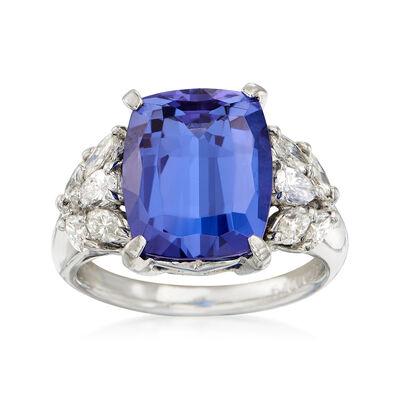 C. 1990 Vintage 6.50 Carat Cushion-Cut Tanzanite and .80 ct. t.w. Diamond Ring in Platinum , , default