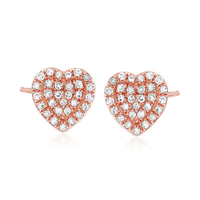 .15 ct. t.w. Diamond Heart Earrings in 14kt Rose Gold