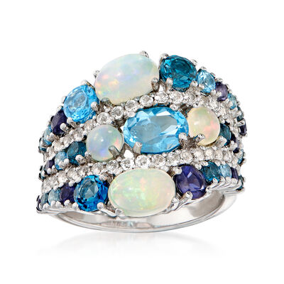 Opal, 1.70ct. t.w. Blue and White Topaz and .20 ct. t.w. Iolite Ring in Sterling Silver, , default