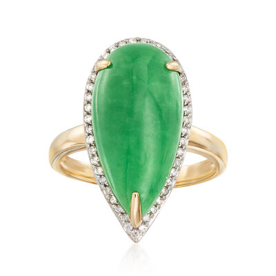 Jade with .17 ct. t.w. Diamond Halo Ring in 14kt Yellow Gold with Rhodium , , default