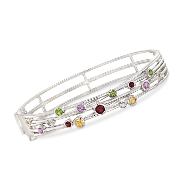 "1.33 ct. t.w. Multi-Stone Station Bangle Bracelet in Sterling Silver. 7"", , default"