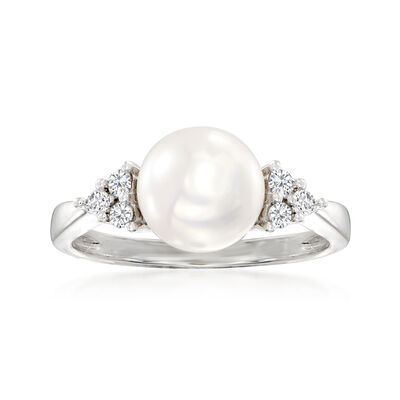 8-8.5mm Cultured Pearl and .13 ct. t.w. Diamond Ring in Sterling Silver