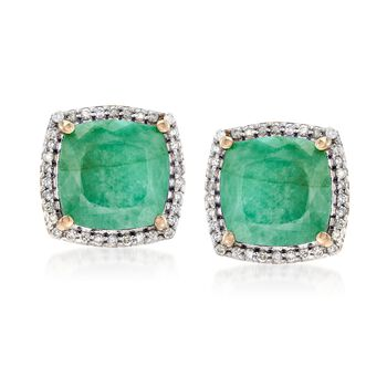 5.50 ct. t.w. Emerald and .27 ct. t.w. Diamond Earrings in 14kt Yellow Gold, , default
