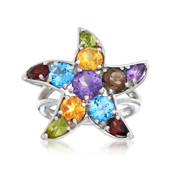 4.91 ct. t.w. Multi-Stone Starfish  Ring in Sterling Silver, , default