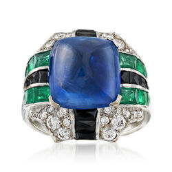 C. 1990 Vintage 8.65 Carat Sapphire and 2.75 ct. t.w. Multi-Stone Ring With Black Onyx in 18kt White Gold, , default