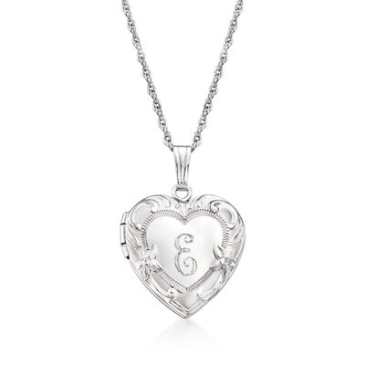 Sterling Silver Engraved Heart Locket Necklace