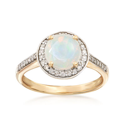 Ethipian Opal and .29 ct. t.w. Diamond Ring in 14kt Yellow Gold, , default