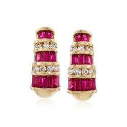 C. 1990 Vintage 2.00 ct. t.w. Ruby and .35 ct. t.w. Diamond Earrings in 14kt Yellow Gold, , default